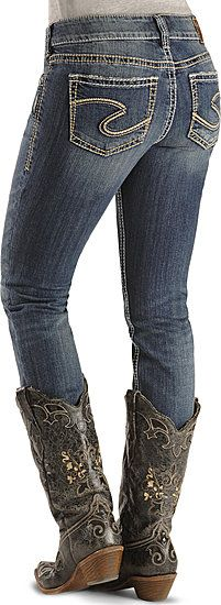 Silver Jeans - Suki Curvy Fit Skinny Jean, love the cowgirl boots ...