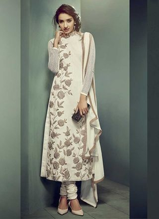 Cream Embroidery Sequins Work Lace Border Net Designer Anarkali Salwar Kameez http://www.angelnx.com/Salwar-Kameez/Anarkali-Suits#/