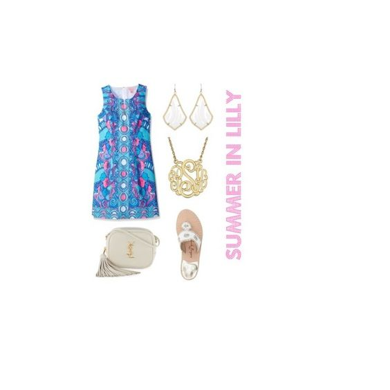 """""""Summer in Lilly"""" by camille-lauren on Polyvore featuring Lilly Pulitzer, Jack Rogers, Kendra Scott and Yves Saint Laurent"""