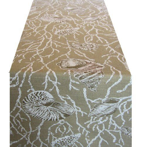 100% Cotton Beach Theme 90x18 Inch Table Runner; Tan With Starfish U0026  Seashells By