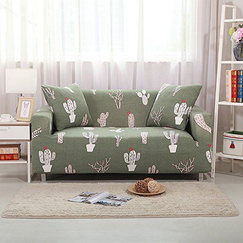 Yutianhome Sofa Slipcover Protector Cover Printed Polyester Spandex Fabric Elastic Sofa Couch Covers Loveseat Green Cacti Inf Sofa Couch Covers Sofa Covers