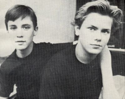 """River Phoenix and Wil Wheaton.  """"I never thought River was going to be the one who would struggle - he was a good kid and he was so talented."""" -Wil Wheaton on the death of River Phoenix"""