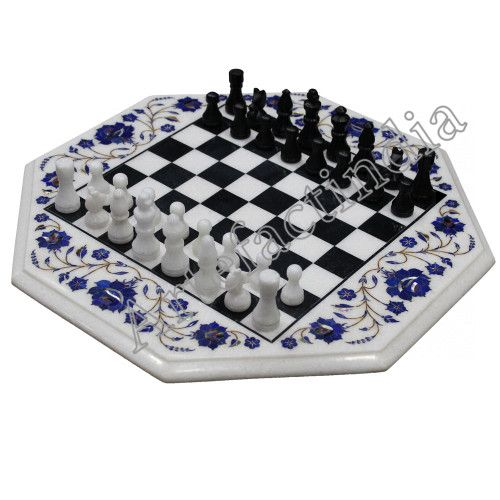 Indian Marble Chess Set Wooden Furniture Table Tops Chess Board Marble Chess Set Hand Carved Stone