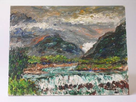 小西安夫 「鹿島川」 (1976年) 油彩6号