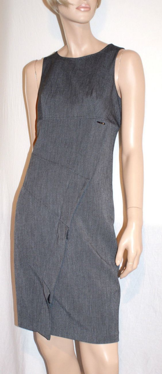 Elegant Grey Woman Sheath Dress with Frills Branded KITTE Vestito Donna Tubino…