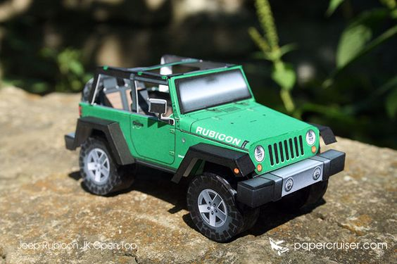 Jeep JK Rubicon Open Top paper model | http://papercruiser.com/downloads/jeep-rubicon-jk-open-top/