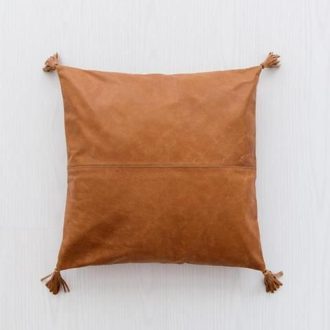 tan leather pillow online