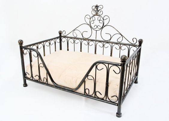 Black Metal Mini Bed Frame W Cushion For Dog Cat Puppies
