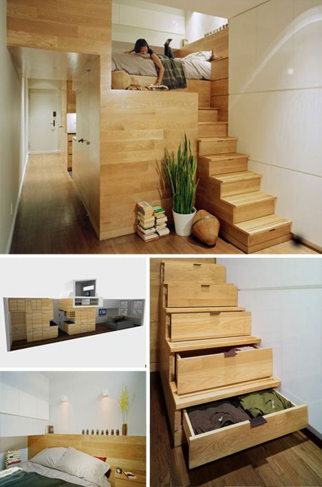 Cool loft beds staircases and storage on pinterest for Loft furniture ideas
