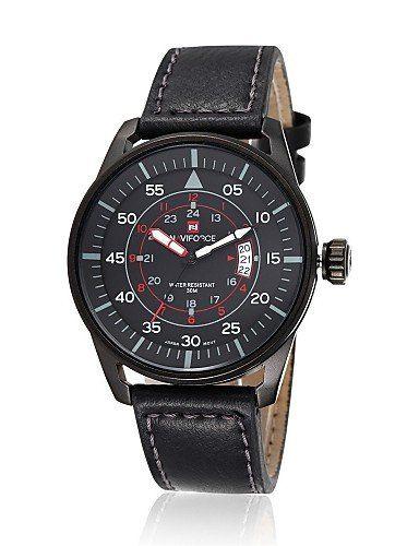 Herren-Quarzuhr, schwarzes Lederarmband, freund Geschenk für Mannsport militärische wasserdichte Uhr , black - http://uhr.haus/yyf/herren-quarzuhr-schwarzes-lederarmband-freund