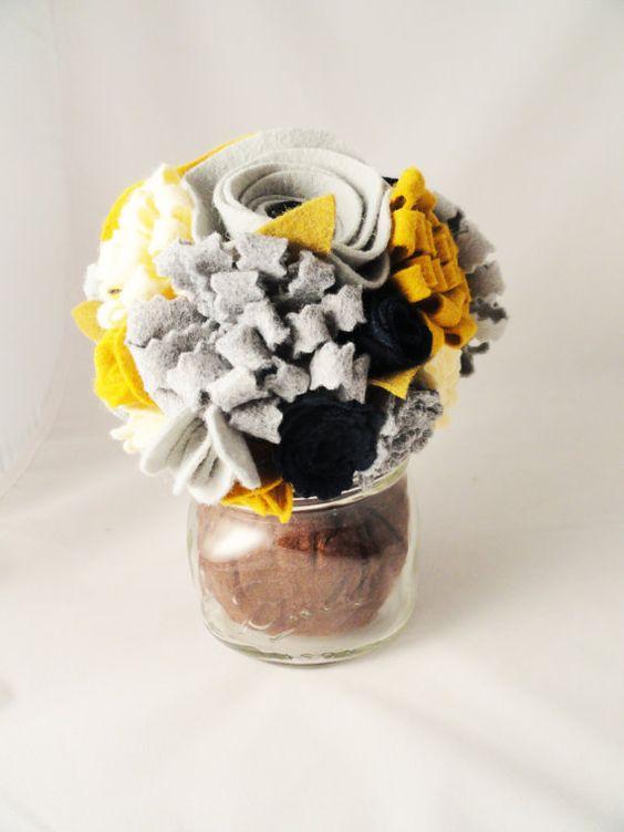 Felt Flower Bouquet in Mason Jar-