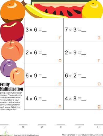 Mystery Fruit Multiplication 5 | Fruit, Multiplication and Articles