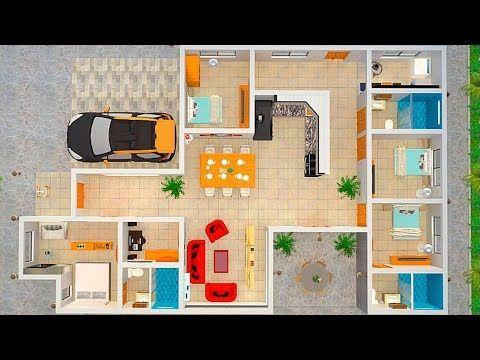 Casa De 1 Piso Con 4 Dormitorios Y 3 Banos 150m2 Youtube Casa De 4 Dormitorios Planos De Casas Planos De Casas Modernas
