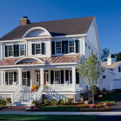 Brown Roofs White Farmhouse Exterior And House Colors On