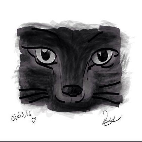 Gato negro/ ilustración / illustrator