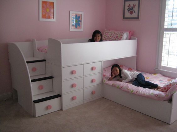 Furniture. Sumptuous Awesome Kids Bedroom Bed Style, Wall Mounted L Shape Wooden White Pink Girls Bedroom Frame Storage Bunk Beds Plus Pink Patterned Bedding Sets. Awesome And Gorgeous Kids beds Designs: