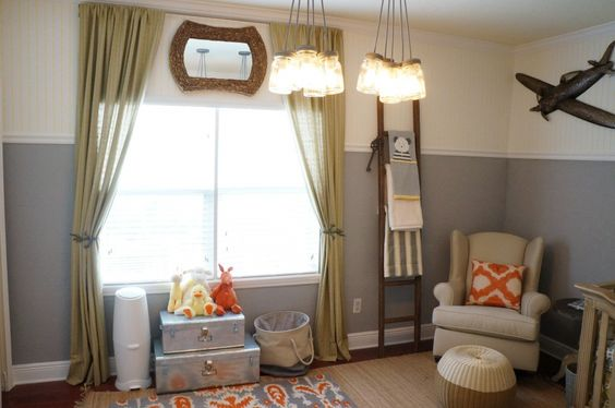 These mason jar lighting is such an awesome accent in this chic baby boy nursery!: