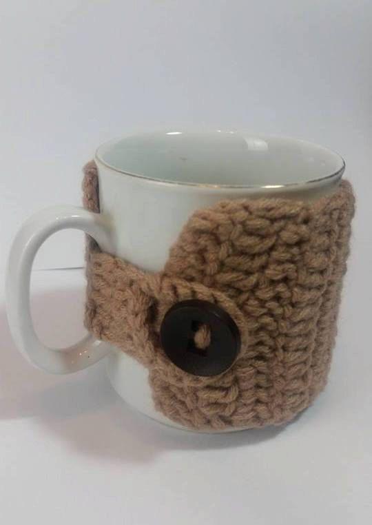 Coffee Cup Cozy Crochet Cupligth brown tea by BOHEMIANHIPPIESHOP