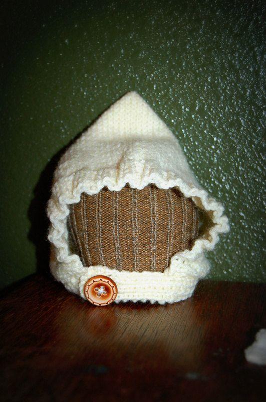 Newborn Cream Pixie Beanie - handmade, knit, baby, soft, hat. $22.00, via Etsy. www.yorkpatty.etsy.com