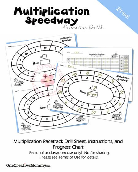 Summer Math Fact Practice-Multiplication Math facts, Math fact - progress chart for kids