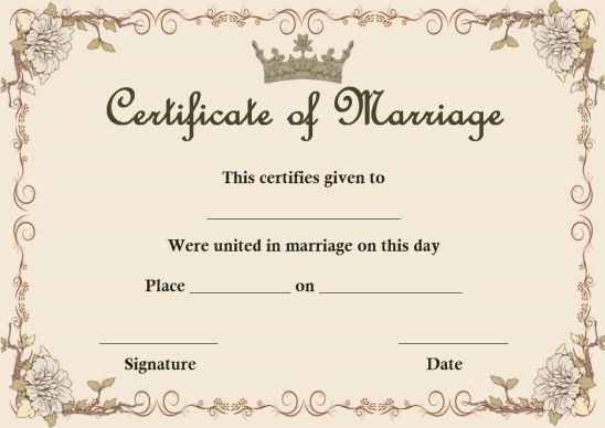 Fake Marriage Certificate Template Maker In 2020 Marriage Certificate Wedding Certificate Marriage