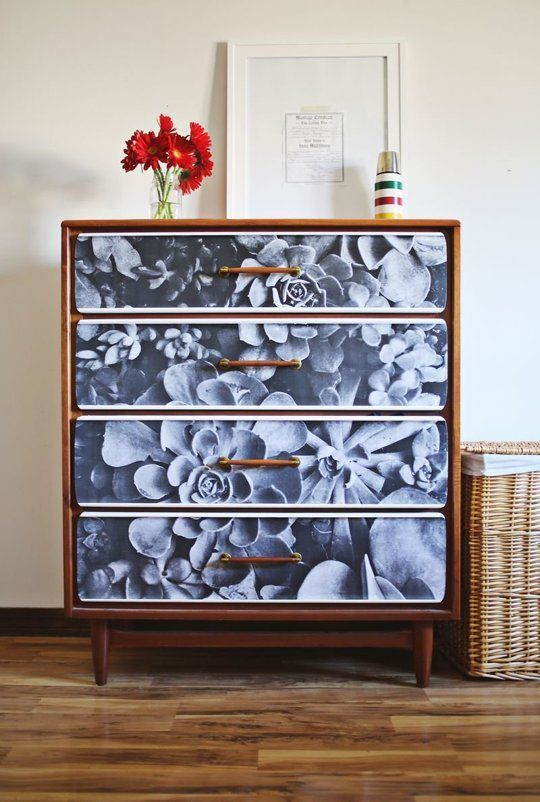 7 Creative Ways to Give New Life to Old Furniture 2. Add a little style with paper. The drawer fronts of this dresser, spotted on A Beautiful Mess, were covered with an engineering print and then lacquered. (An engineering print is an inexpensive way to print out a photo you like on a large scale.)