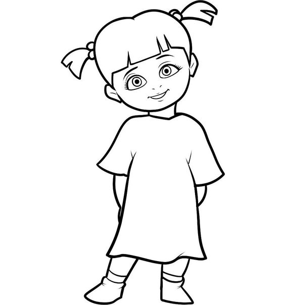 Character little boo monster inc coloring pages for Coloring pages monsters inc
