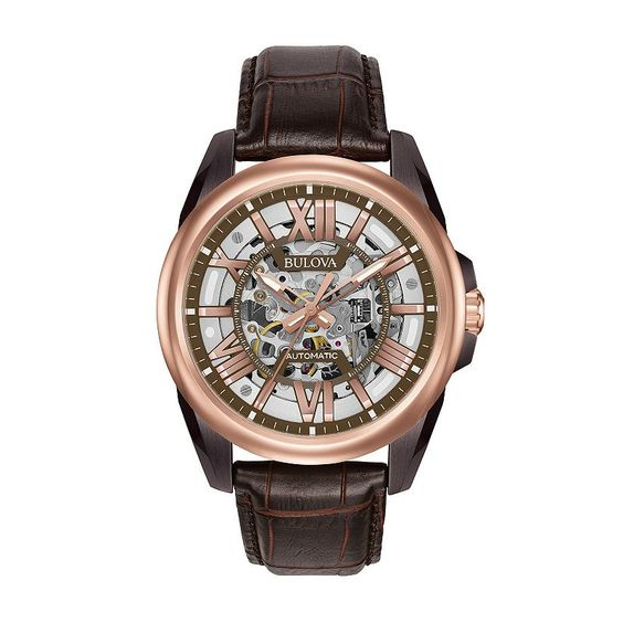 Bulova Men's Leather Automatic Skeleton Watch - 98A165, Brown
