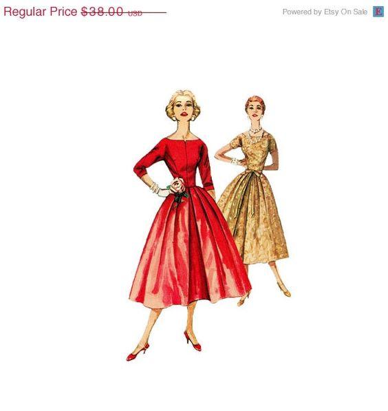 SALE Vintage 50s Dress Sewing  Pattern Bateau by retromonkeys, $30.40