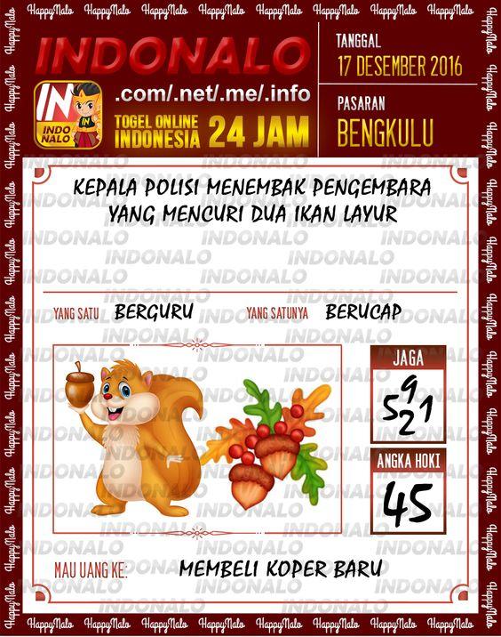 Tafsir Lotre 4D Togel Wap Online Live Draw 4D Indonalo Bengkulu 17 Desember 2016