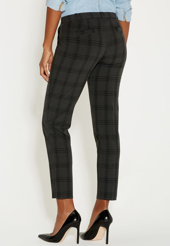 the smart plaid extended tab ankle trouser - maurices.com