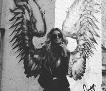 Inspiring image angel, angel wings, art, black and white, fallen angel, girl…