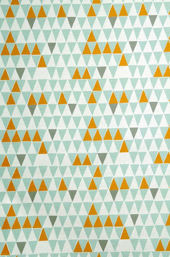 Orange Fabric Triangle Print Fabric Geometric Print Fabric Tablecloth Fabric Home Decor