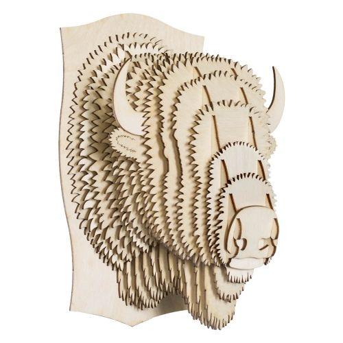 billy m dium bison troph e en bois cardboard safari animaux safari et animaux. Black Bedroom Furniture Sets. Home Design Ideas