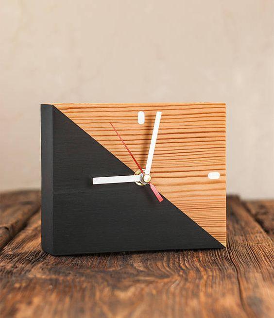 Modern Desk Organizer Wooden Clock Pen Holder Reclaimed Wood