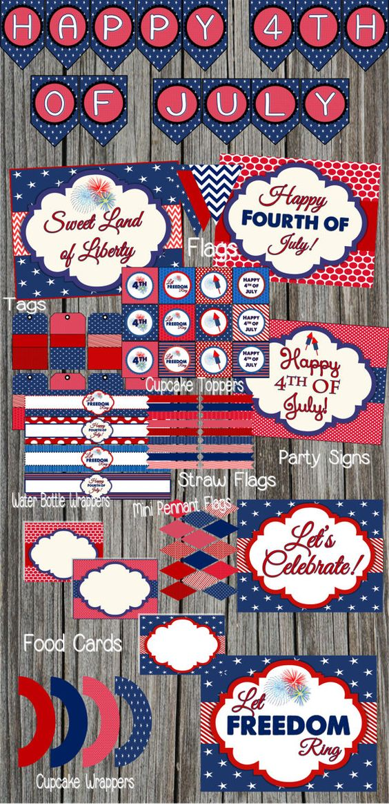 4th of July Party Decor Package Set of by SerendipityPlanning, $9.95