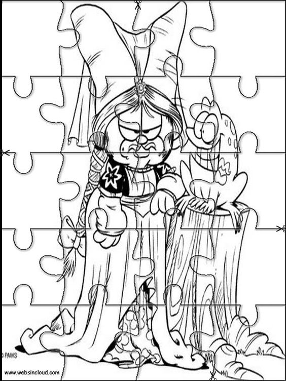Printable jigsaw puzzles to cut out for kids Garfield 31 Coloring Pages