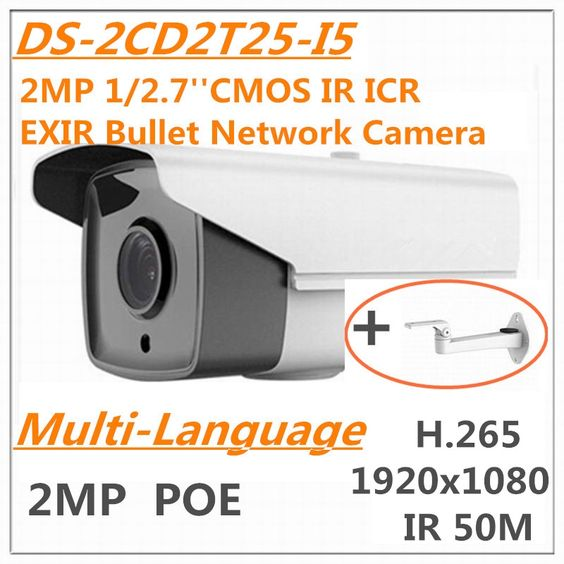 86.00$  Buy here - http://alijcb.worldwells.pw/go.php?t=32622872065 - Multi language DS-2CD2T25-I5 2MP 1/2.7'' CMOS ICR EXIR Bullet Network Camera IR 50M H.265 1080P IP67 outdoor outside POE