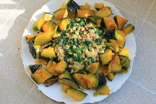 "Cheezy"" millet with kale and pinto beans, surrounded by kabocha ..."