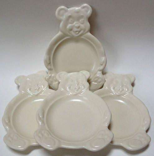 4 Pfaltzgraff Figural Teddy Bear Snack Plates Kids Childs Children Solid Color