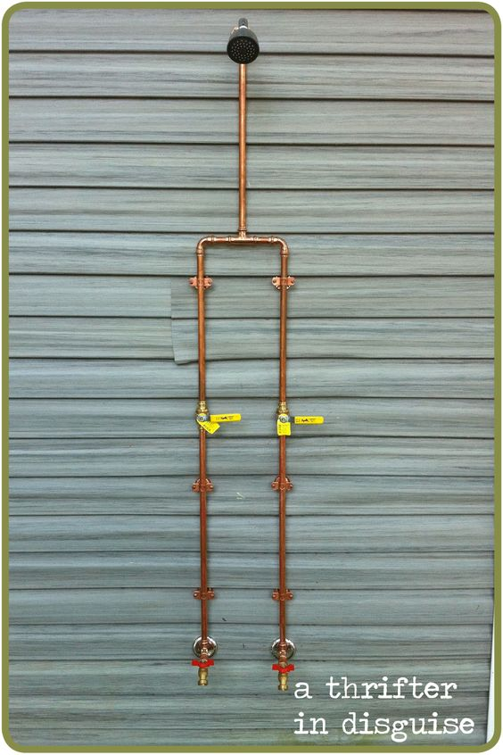 use the copper pipes for interior exposed pipe shower