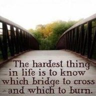 Life Quote: The hardest thing in life is to know which bridge to cross and which bridge to burn