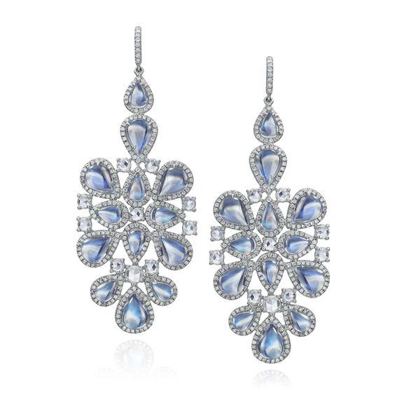 Nina Runsdorf 18K white gold moonstone and rosecut diamond earrings