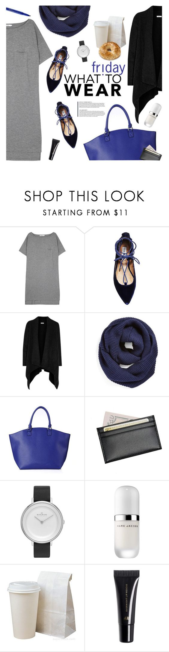 """""""Comfy and easy"""" by magdafunk ❤ liked on Polyvore featuring T By Alexander Wang, Steve Madden, Joie, BP., Royce Leather, Skagen, Marc Jacobs, H&M and Smashbox"""