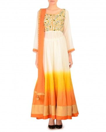 Sunshine Yellow and Orange Anarkali Suit with Embroidered Bodice - $327