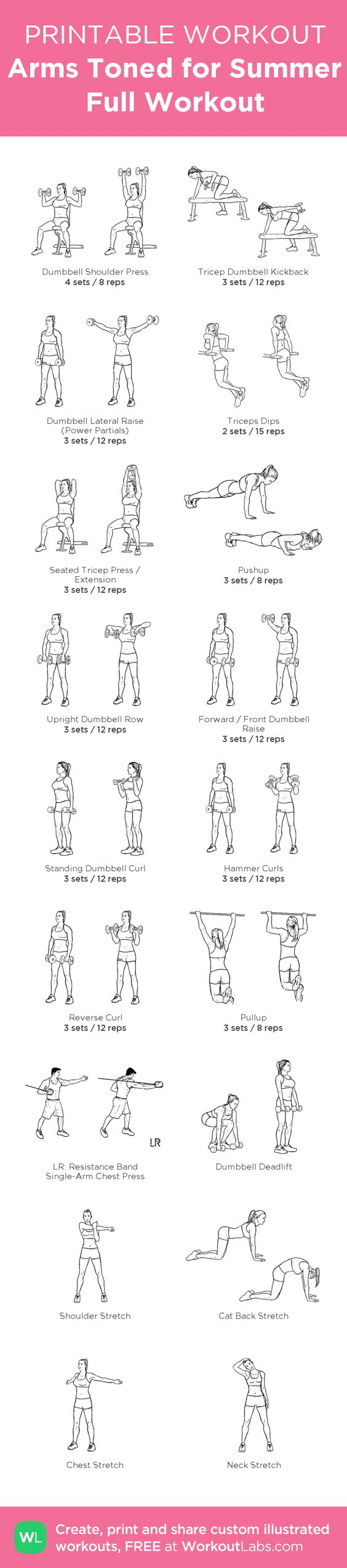 Tricep and Bicep workout - 6 Triceps shoulders workouts, followed by 6 Biceps Back workouts, this makes a full upper body workout routines, at home or at the Gym ! my custom printable workout by @WorkoutLabs #workoutlabs #customworkout