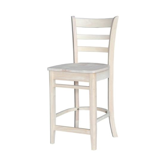 24 in. H Emily Counter Stool in Unfinished