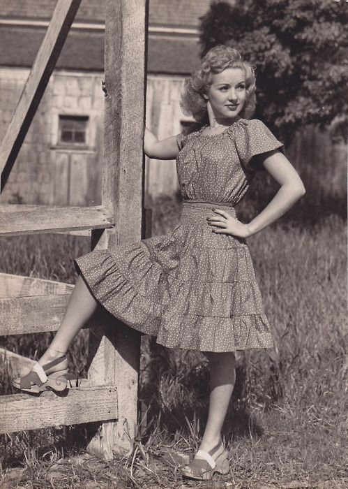 Betty Grable in some amazing shoes, 1942.: