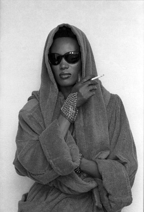 "Grace Jones - one and only <3 - to me, she epitomizes a truly proud black woman, didn't get ""lighter"" every year, never conformed to the industry's perception of beauty, and stood out from the rest as a true eccentric. Now THIS is a DIVA!"