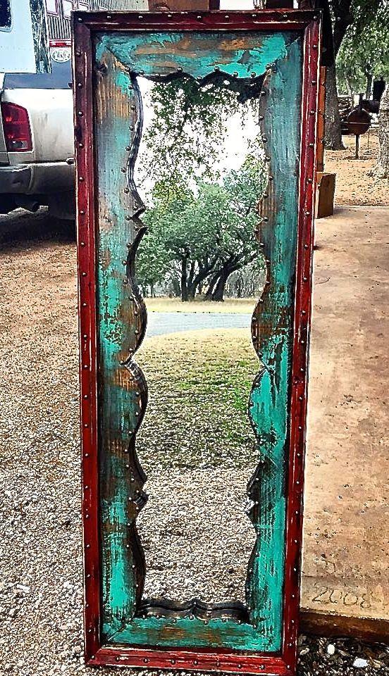 re-do a mirror...Fringe Dressing Mirror - Sofia's Rustic Furniture